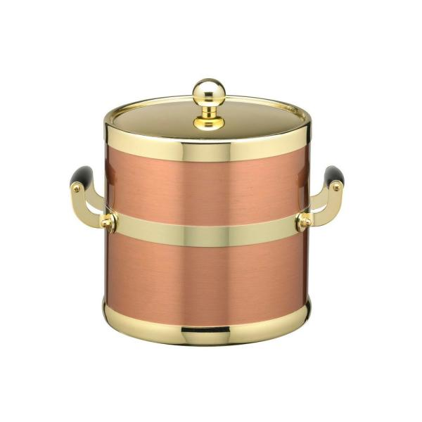 Kraftware Americano 3 Qt. Brushed Copper and Brass Ice Bucket with Wood Side Handles