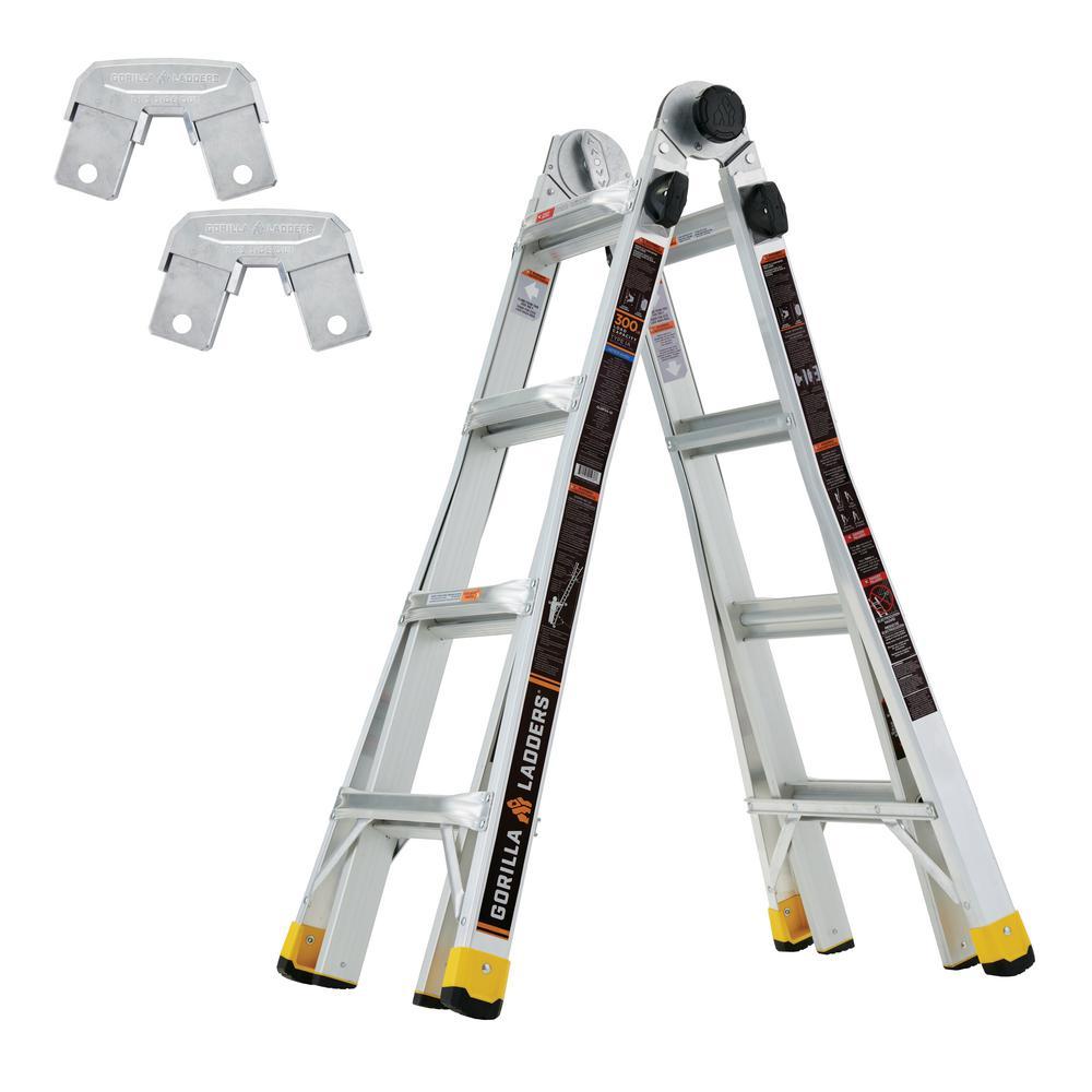 Gorilla Ladders 18 ft. Reach MPXA Multi-Position Ladder/Rail Bracket Kit (Combo-Pack)