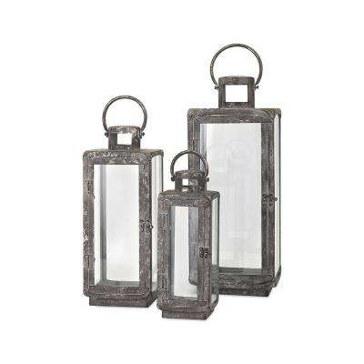 Ella Distressed Silver Metal Lanterns (3-Piece)