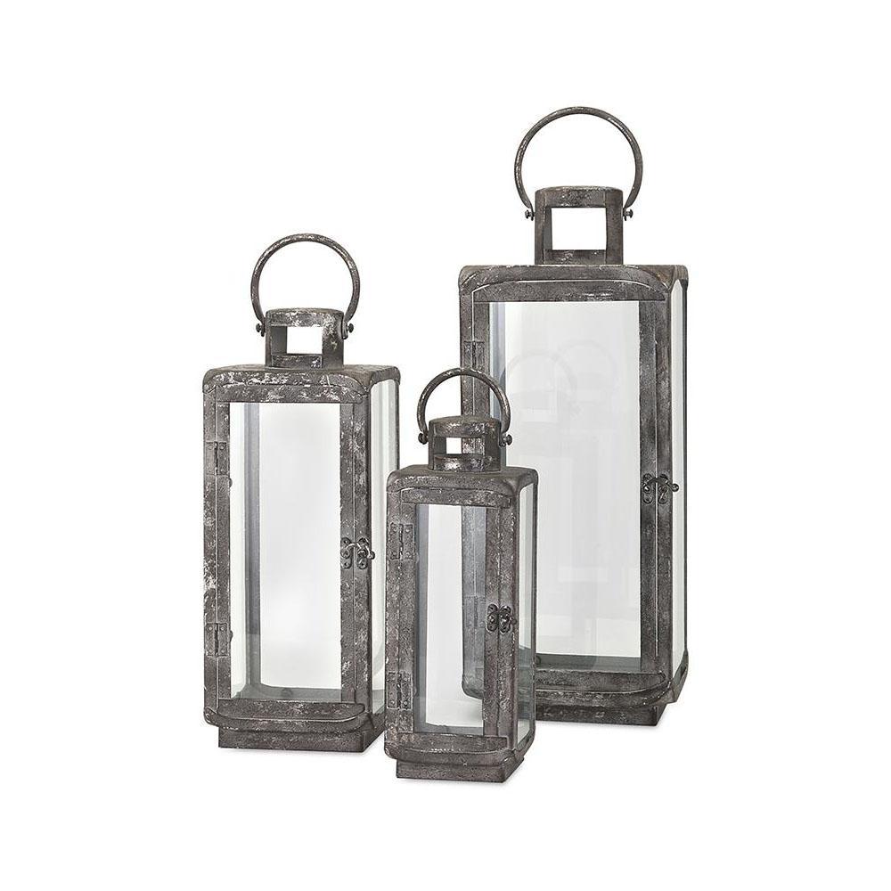 IMAX Ella Distressed Silver Metal Lanterns (3-Piece)-14234-3 - The ...