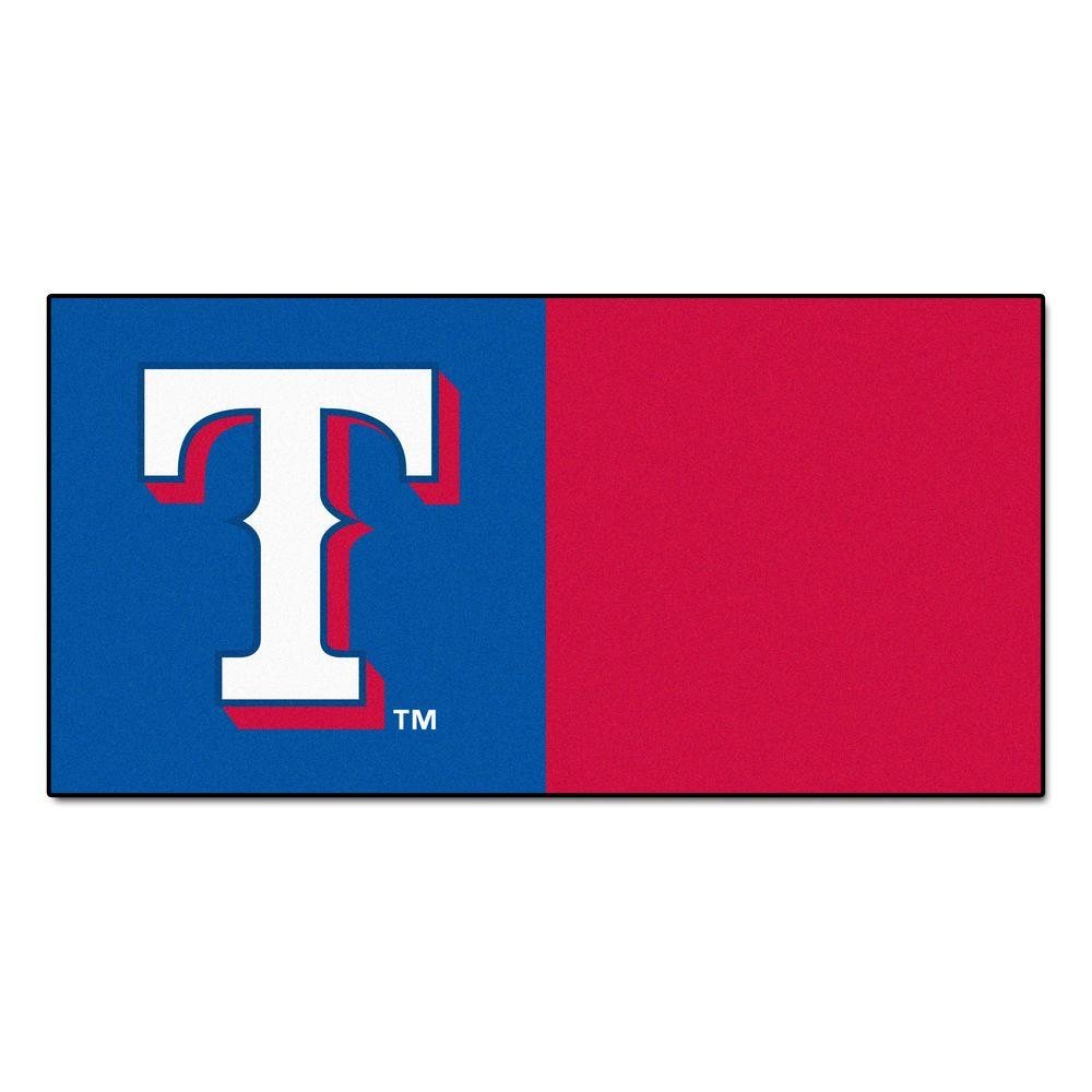 FANMATS MLB - Texas Rangers Blue and Red Nylon 18 in. x 18 in. Carpet Tile (20 Tiles/Case)