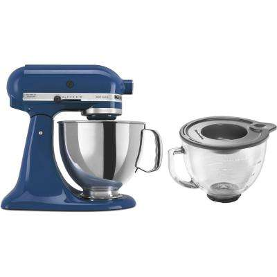 Artisan 5 Qt. 10-Speed Willow Blue Stand Mixer with Flat Beater, 6-Wire Whip and Dough Hook Attachments
