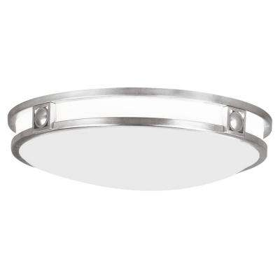 4 in. 3-Light Brushed Nickel Flushmount with Satin White Glass Shade