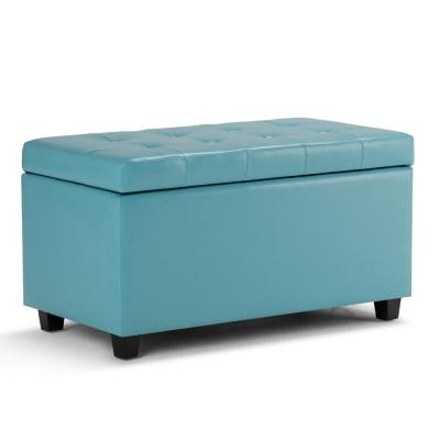 Cosmopolitan 34 in. Contemporary Storage Ottoman in Soft Blue Faux Leather