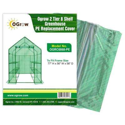 "2 Tier 8 Shelf Greenhouse PE Replacement Cover - To Fit Frame Size 77"" H x 56"" W x 56"" D"