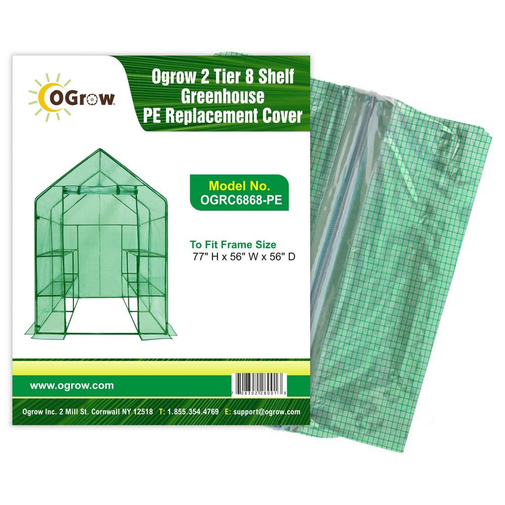 2 Tier 8 Shelf Greenhouse PE Replacement Cover - To Fit