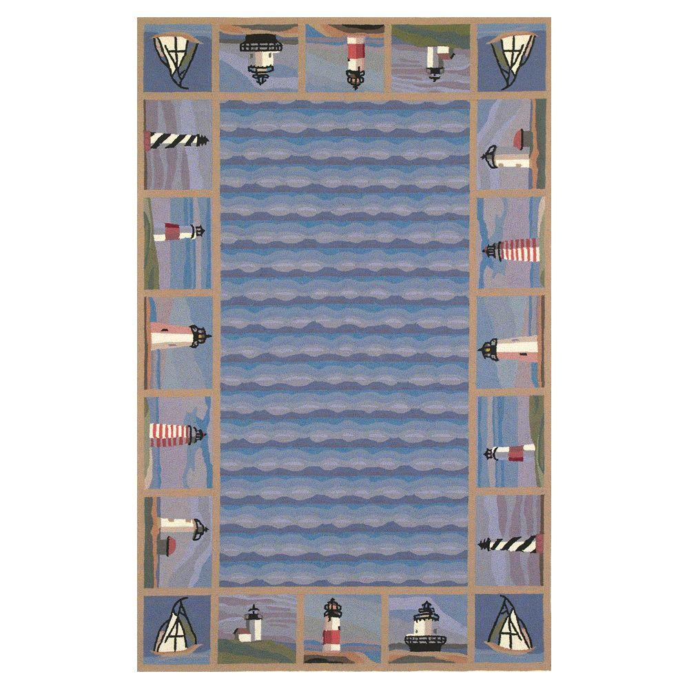 Kas Rugs Lighthouse Border Blue 2 ft. 6 in. x 4 ft. 2 in. Area Rug