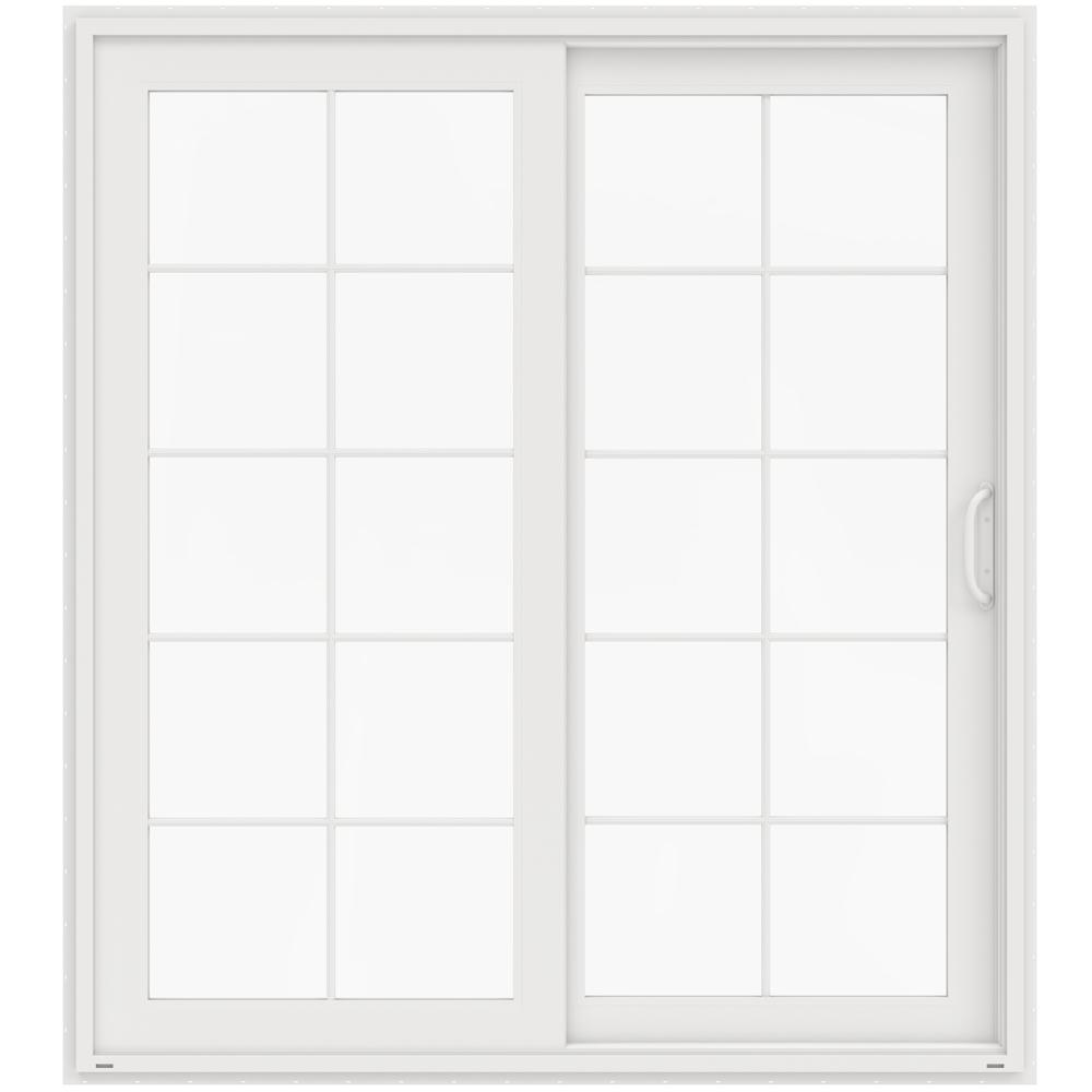 72 in. x 80 in. V-4500 White Prehung Right-Hand Sliding French