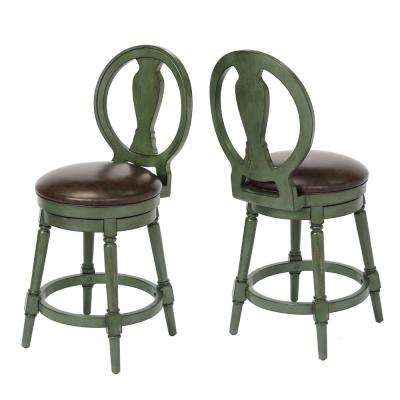 Candace 24 in. Green Counter Height Swivel Bar Stool (Individual)