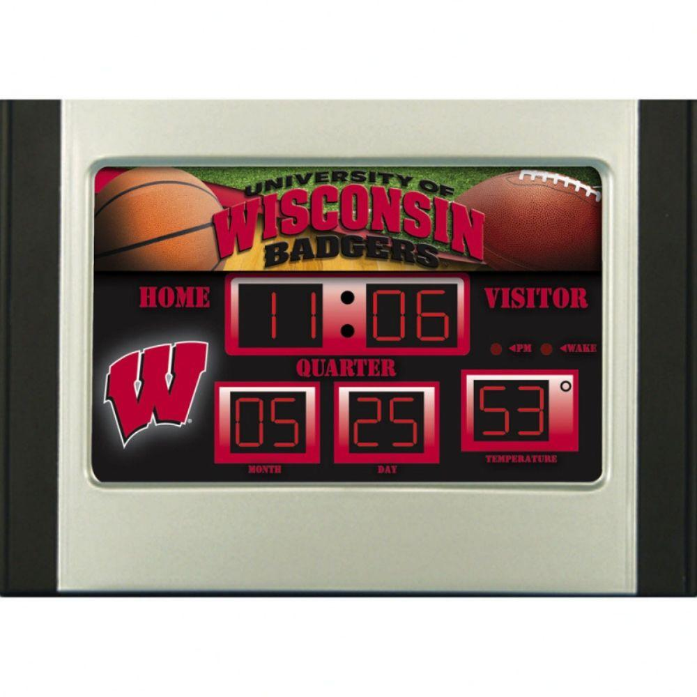 null University of Wisconsin 6.5 in. x 9 in. Scoreboard Alarm Clock with Temperature