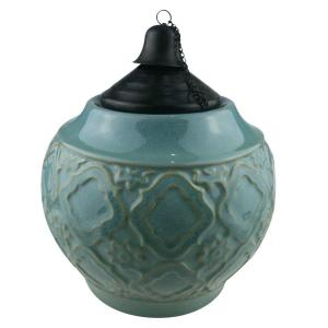 9 in. Ceramic Table Top Torch with Blue Glaze