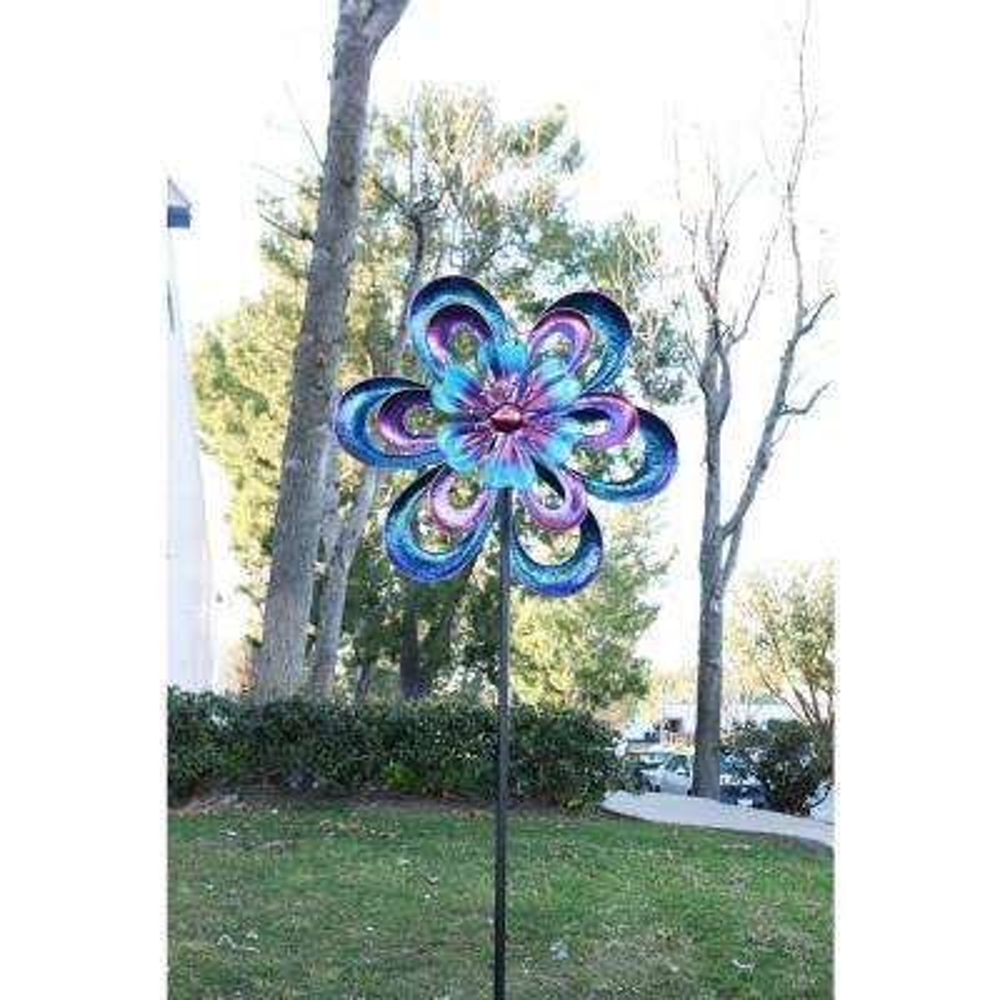 94 in. Metal Round Flower Spinning Garden Stake