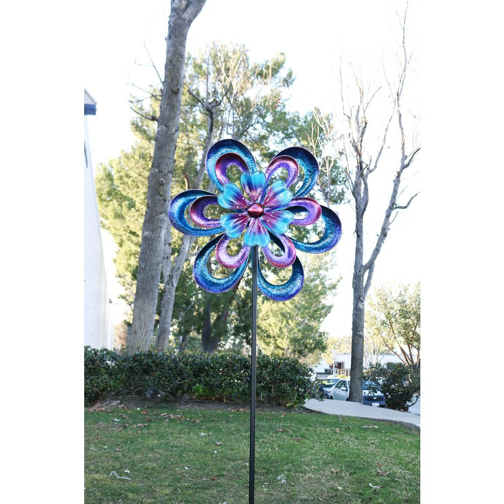 94 in. Metal Round Flower Spinning Garden Stake