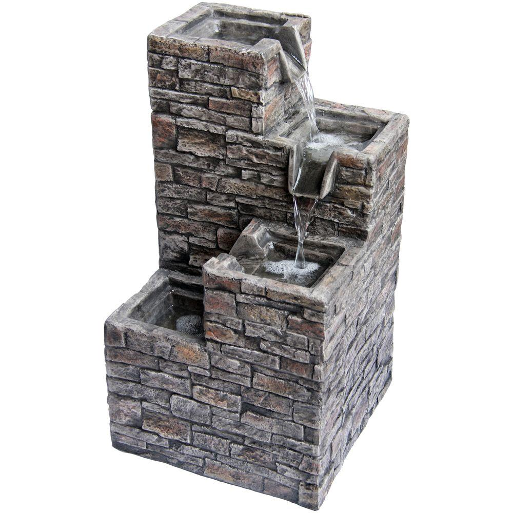 Angelo Decor Stacked Stone Spilling Steps Fountain