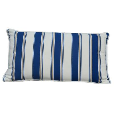 Luxury Canvas Blue Striped Rectangular Outdoor Throw Pillow