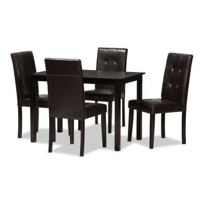 Avery 5-Piece Dark Brown Dining Set