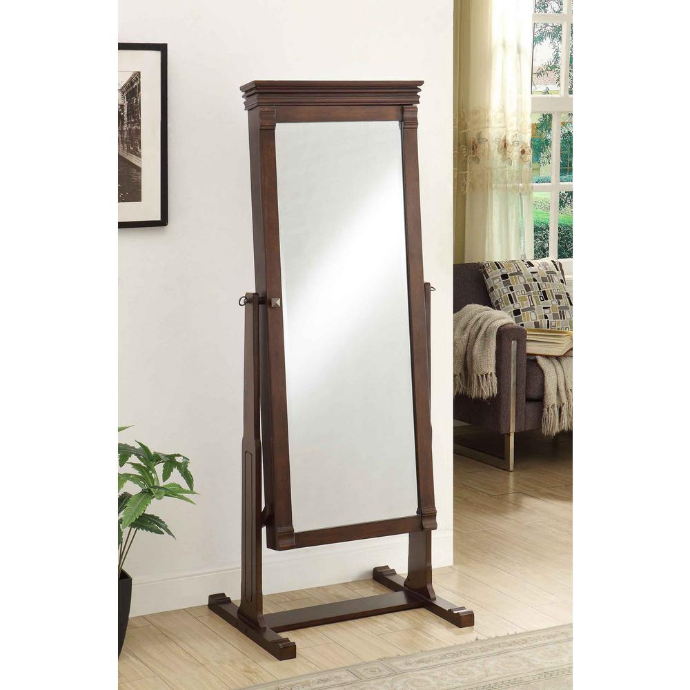 Linon Home Decor Angela 63 In X 23 75 Cheval Walnut Framed Mirror