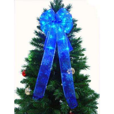 9 in. 36-Light LED Blue Ribbon Bow