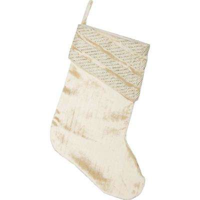 15 in. 100% Viscose Creme Memories Glam Christmas Decor Stocking