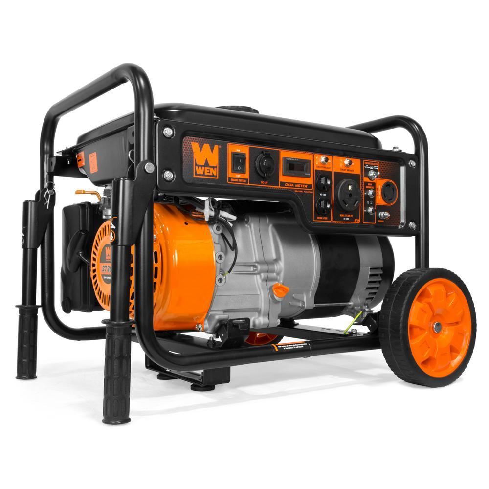 WEN 6000Watts Portable RV-Ready Gas Powered Portable Generator w/ Wheel Kit, CARB Compliant