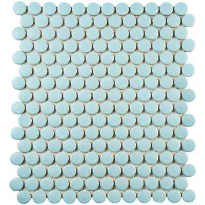 Metro Penny Matte Light Blue 9-3/4 in. x 11-1/2 in. x 6 mm Porcelain Mosaic Tile (8 sq. ft. / case)