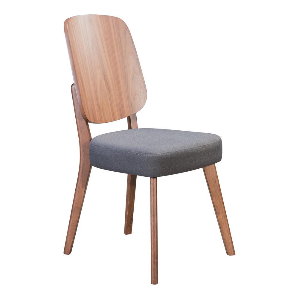 Alberta Walnut and Dark Gray Dining Chair (Set of 2)