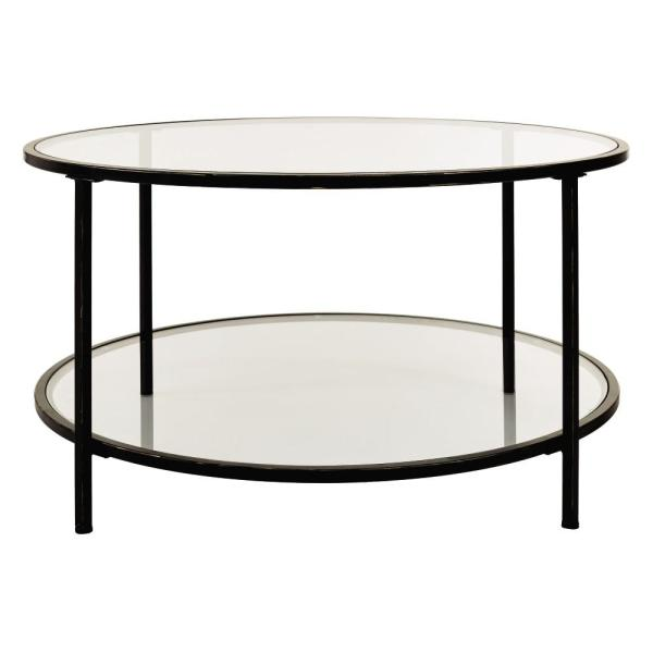 Bella Round Antique Bronze Metal and Glass Coffee Table (34 in. W x 18 in. H)