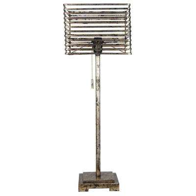 27 in. Antique Silver Metal Table Lamp