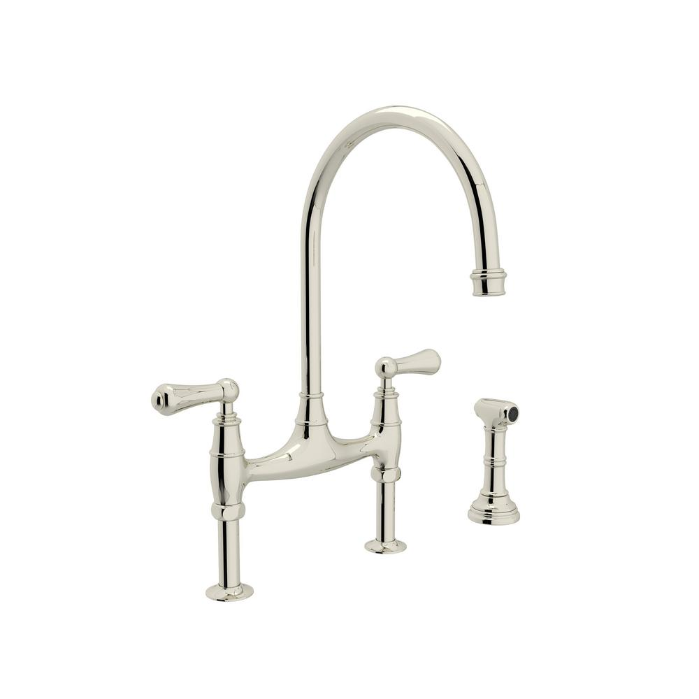 Rohl Perrin and Rowe 2-Handle Bridge Kitchen Faucet with Side ...