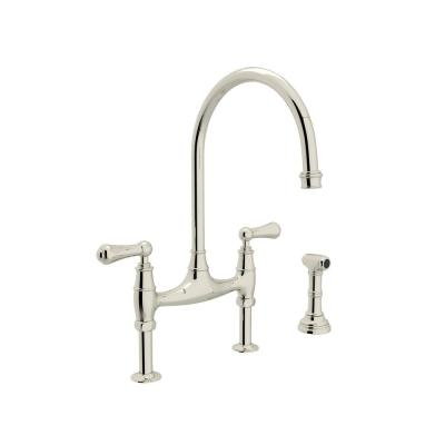 Perrin and Rowe 2-Handle Bridge Kitchen Faucet with Side Sprayer in Polished Nickel