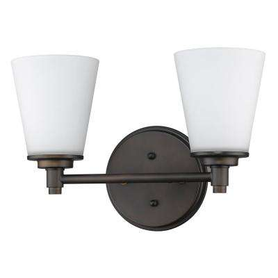 Conti 2-Light Oil-Rubbed Bronze Vanity Light with Etched Glass Shades