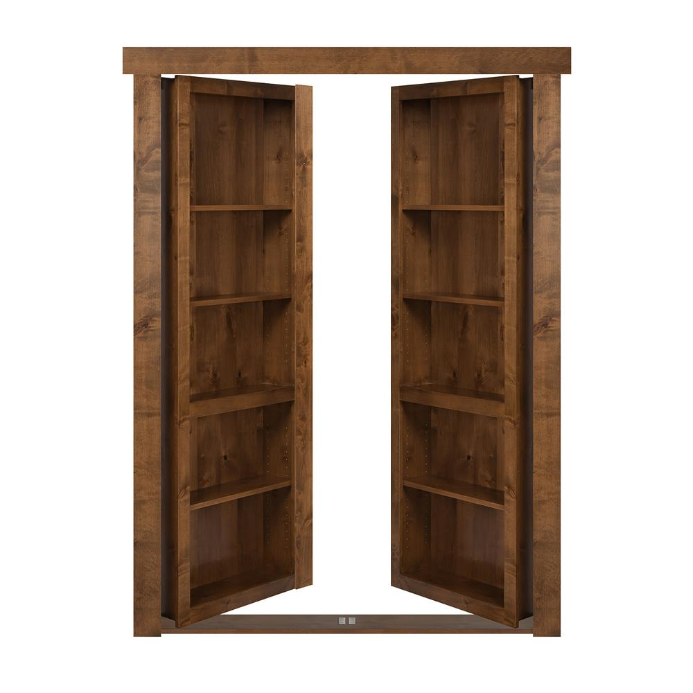 The Murphy Door 72 In X 80 In Flush Mount Assembled Alder Medium Brown Stained Universal Solid
