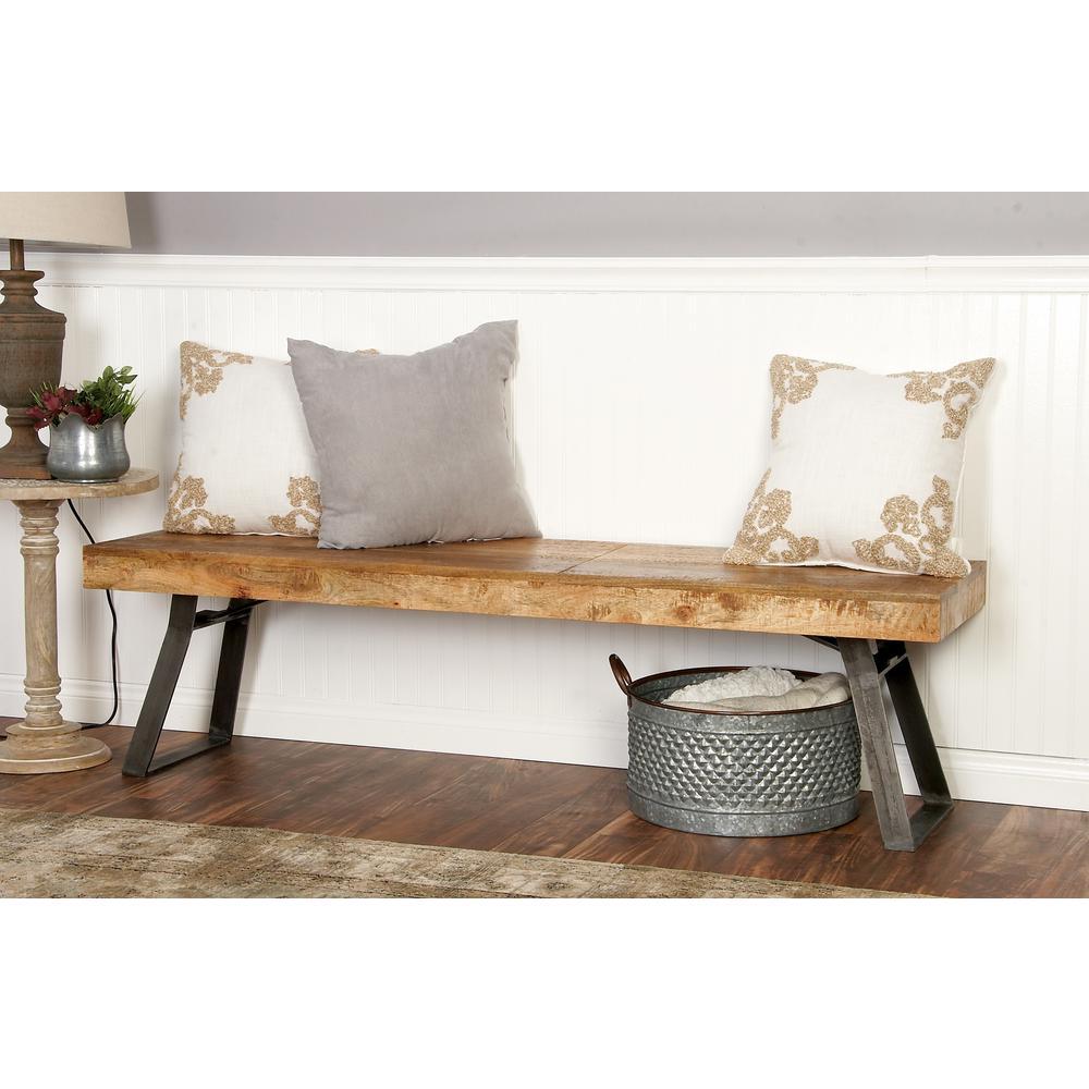 Modern Light Brown Wooden Bench by