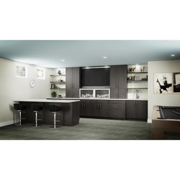 Hampton Bay Designer Series Edgeley Assembled 24x96x23 75 In Pantry Kitchen Cabinet In Thunder T2496 Edth The Home Depot