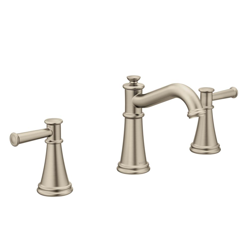 Pfister ladera 8 in widespread 2 handle bathroom faucet for 8 bathroom faucet in brushed nickel