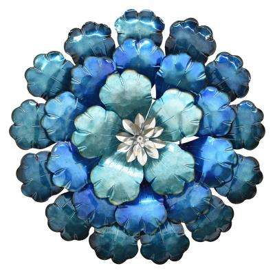 21 in. Metal Flower Wall Decor in Blue