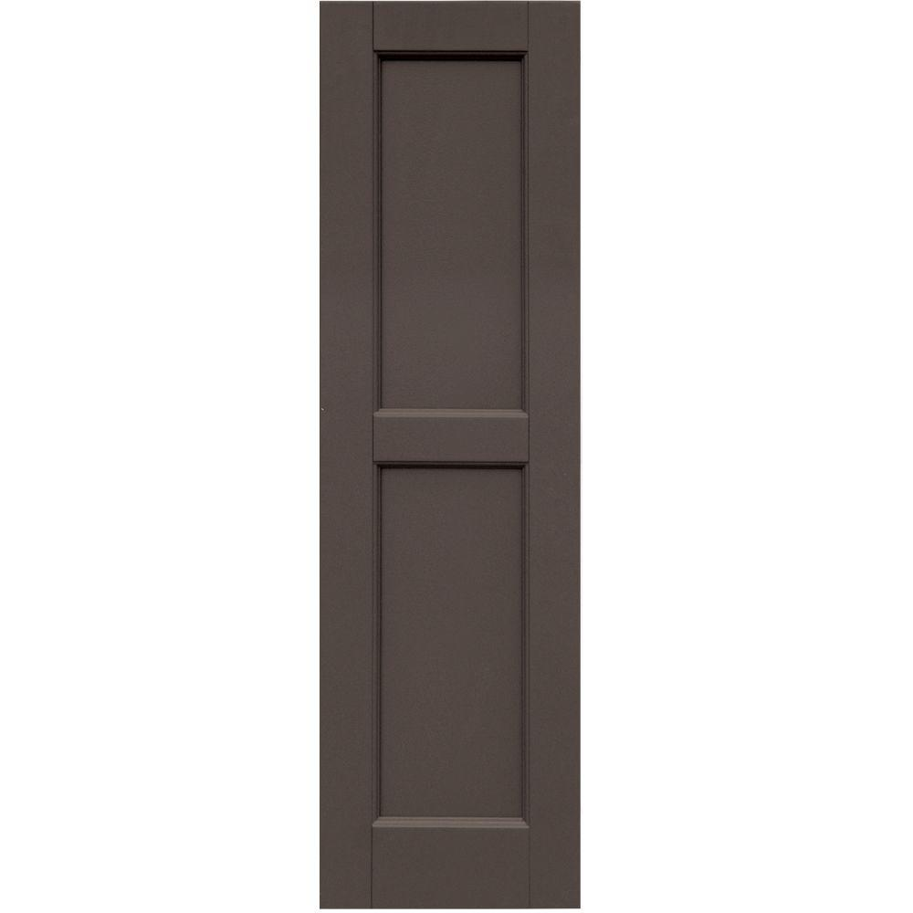 Winworks Wood Composite 12 in. x 42 in. Contemporary Flat Panel Shutters Pair #641 Walnut