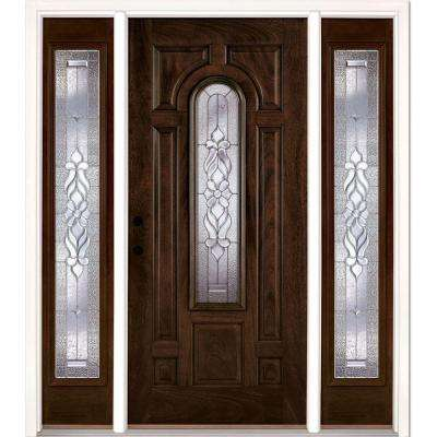 67.5 in. x 81.625 in. Lakewood Zinc Stained Chestnut Mahogany Right-Hand Fiberglass Prehung Front Door with Sidelites
