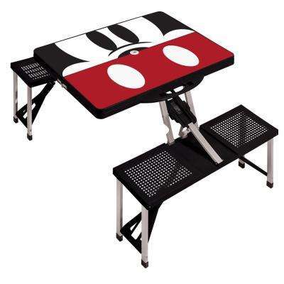 Mickey Mouse Black Picnic Table Sport Portable Folding Table with Seats