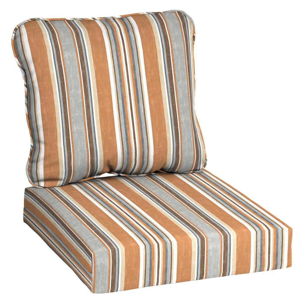 Cashew Stripe 2-Piece Deep Seating Outdoor Lounge Chair Cushion