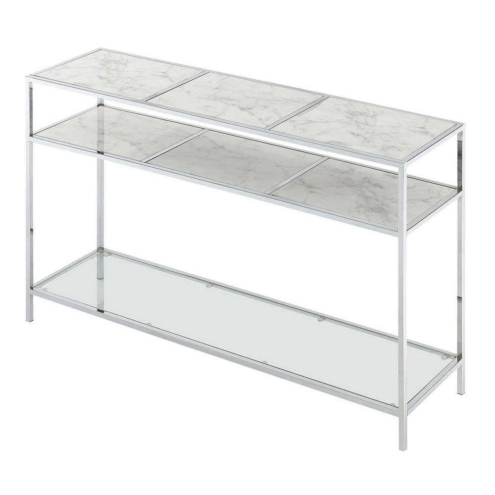 Gold Coast Carrara Faux Marble with Glass and Chrome Console Table