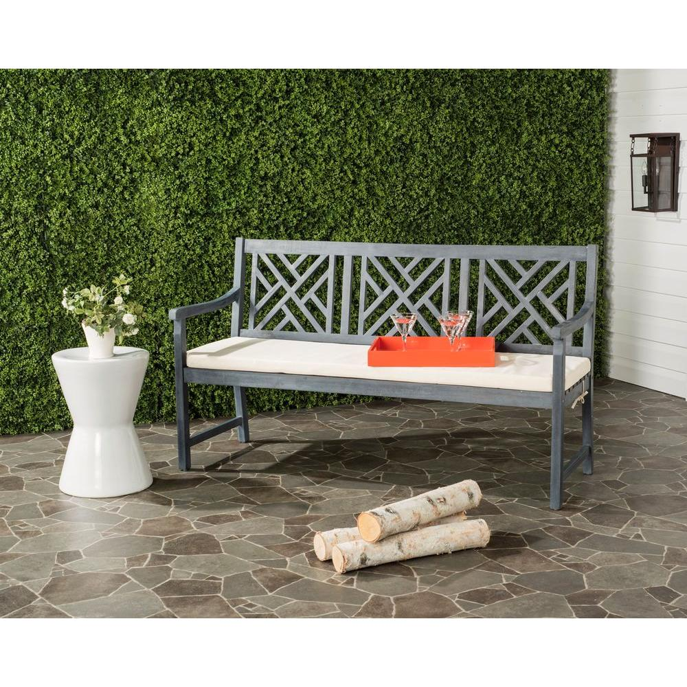 Bradbury Outdoor 3 Seat Acacia Patio Bench with Beige Cushions