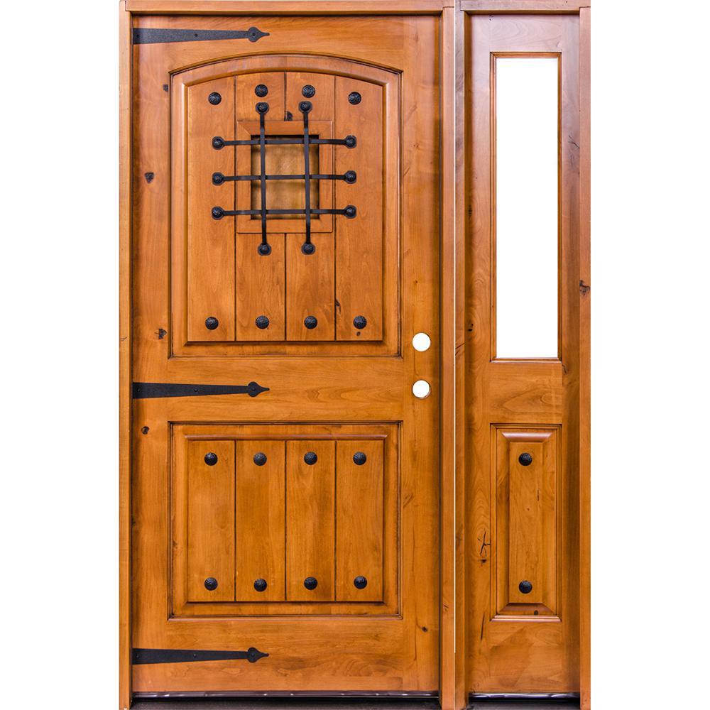 Krosswood Doors 46 in. x 80 in. Mediterranean Unfinished Knotty Alder Arch Left-Hand Right Half Sidelite Clear Glass Prehung Front Door