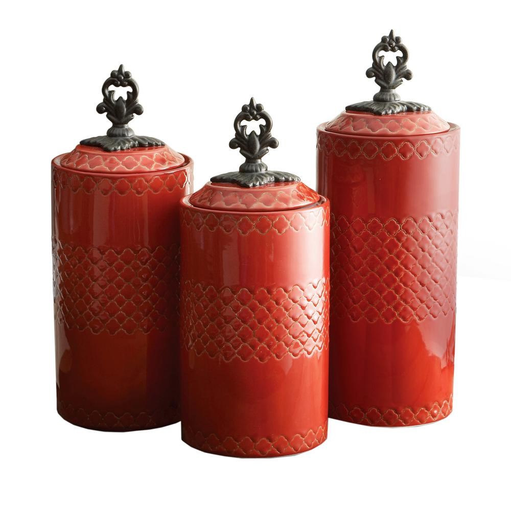 3-Piece Red Ceramic Canister Set with Lid