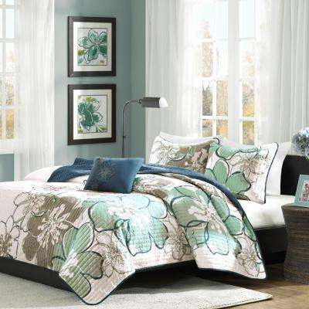 Skylar 4-Piece Blue/Grey Full/Queen Print Coverlet Quilt Set