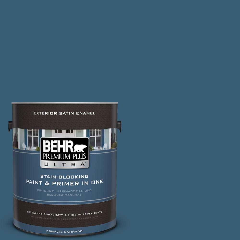BEHR Premium Plus Ultra 1-gal. #S490-7 Superior Blue Satin Enamel Exterior Paint
