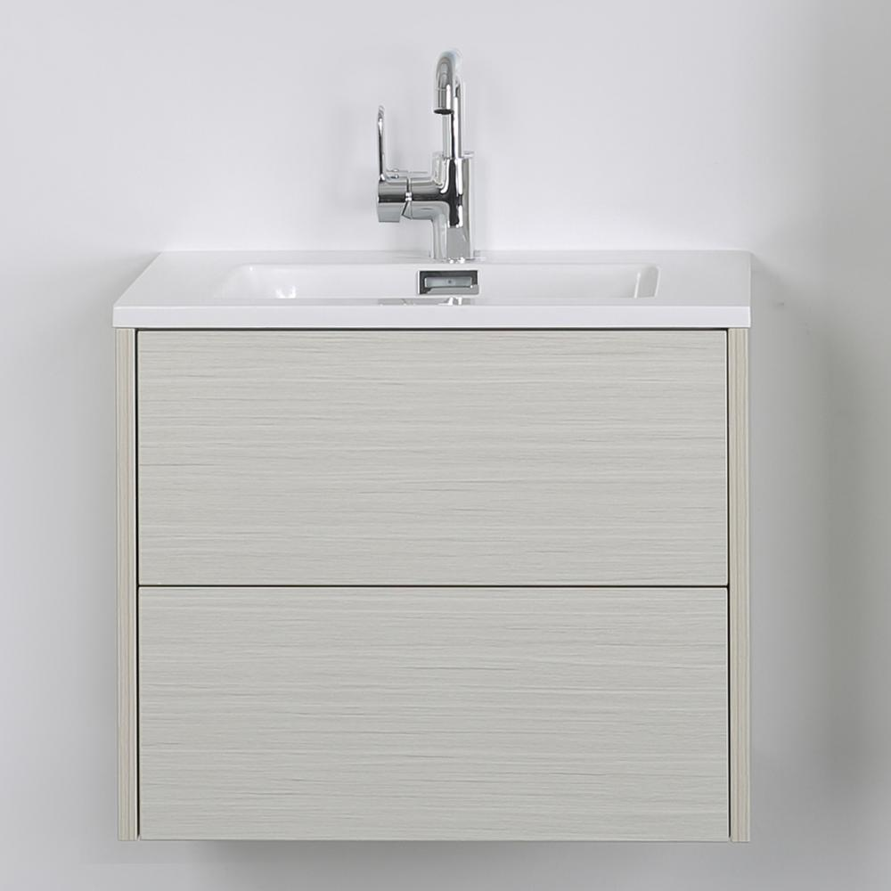 Streamline 23.6 in. W x 19.3 in. H Bath Vanity in Gray with Resin Vanity Top in White with White Basin