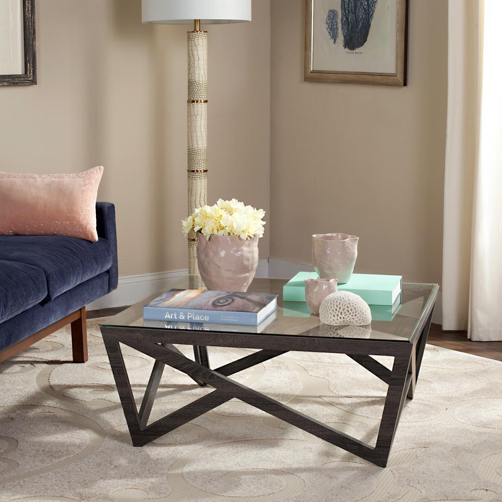Safavieh Ralston Mid Century Glass Top Dark Gray Coffee Table