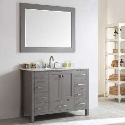 Aberdeen 47.2 in. W x 22 in. D x 35 in. H Vanity in Grey with Carrara Marble Vanity Top in White with White Basin