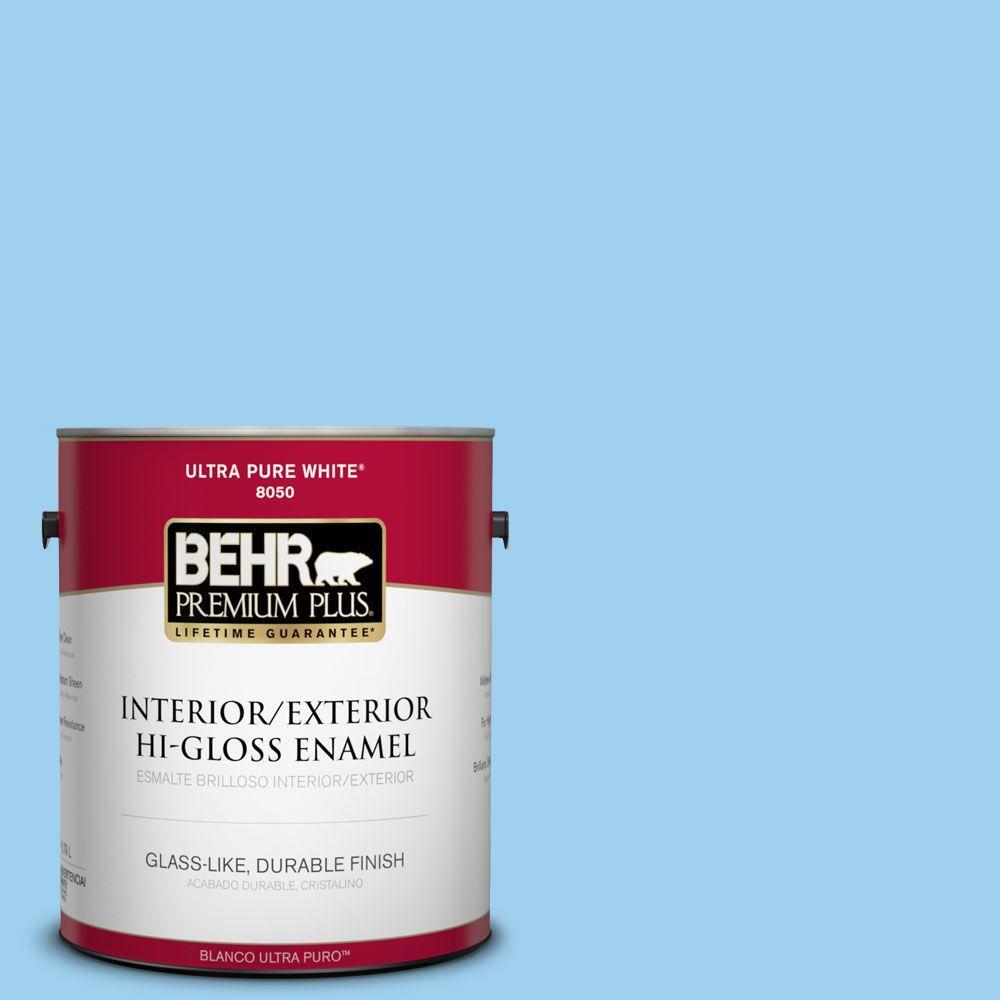 BEHR Premium Plus 1-gal. #P500-3 Spa Blue Hi-Gloss Enamel Interior/Exterior Paint